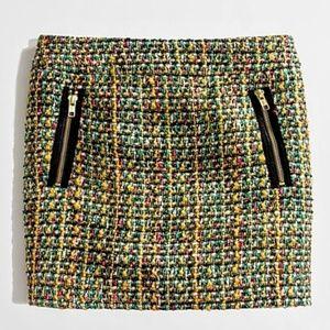 J. Crew Gold-Zip Tweed Wool Blend Mini Skirt 47161